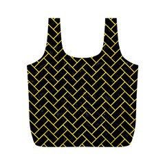Brick2 Black Marble & Yellow Colored Pencil (r) Full Print Recycle Bags (m)  by trendistuff