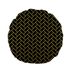 Brick2 Black Marble & Yellow Colored Pencil (r) Standard 15  Premium Flano Round Cushions by trendistuff