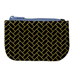 Brick2 Black Marble & Yellow Colored Pencil (r) Large Coin Purse by trendistuff
