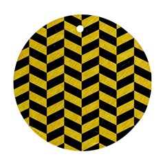 Chevron1 Black Marble & Yellow Colored Pencil Ornament (round) by trendistuff