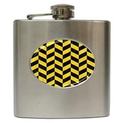 Chevron1 Black Marble & Yellow Colored Pencil Hip Flask (6 Oz) by trendistuff