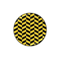 Chevron1 Black Marble & Yellow Colored Pencil Hat Clip Ball Marker (10 Pack) by trendistuff