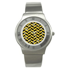 Chevron1 Black Marble & Yellow Colored Pencil Stainless Steel Watch by trendistuff