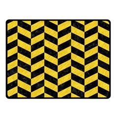 Chevron1 Black Marble & Yellow Colored Pencil Double Sided Fleece Blanket (small)  by trendistuff