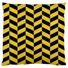 Chevron1 Black Marble & Yellow Colored Pencil Standard Flano Cushion Case (one Side) by trendistuff