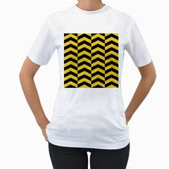 Chevron2 Black Marble & Yellow Colored Pencil Women s T Shirt (white) (two Sided)