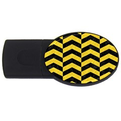 Chevron2 Black Marble & Yellow Colored Pencil Usb Flash Drive Oval (2 Gb)