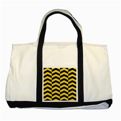 Chevron2 Black Marble & Yellow Colored Pencil Two Tone Tote Bag by trendistuff