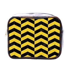 Chevron2 Black Marble & Yellow Colored Pencil Mini Toiletries Bags by trendistuff