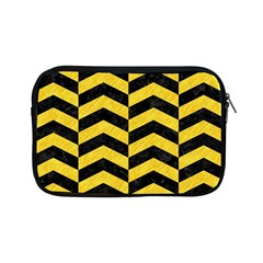 Chevron2 Black Marble & Yellow Colored Pencil Apple Ipad Mini Zipper Cases by trendistuff
