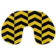 Chevron2 Black Marble & Yellow Colored Pencil Travel Neck Pillows by trendistuff