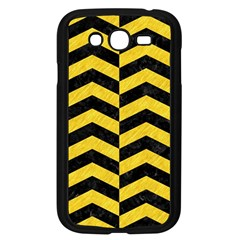 Chevron2 Black Marble & Yellow Colored Pencil Samsung Galaxy Grand Duos I9082 Case (black) by trendistuff