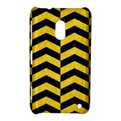Chevron2 Black Marble & Yellow Colored Pencil Nokia Lumia 620 by trendistuff