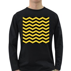 Chevron3 Black Marble & Yellow Colored Pencil Long Sleeve Dark T Shirts