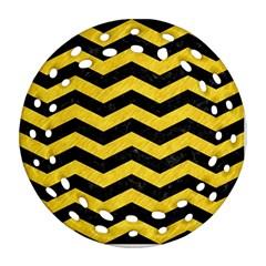 Chevron3 Black Marble & Yellow Colored Pencil Ornament (round Filigree) by trendistuff