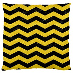 Chevron3 Black Marble & Yellow Colored Pencil Standard Flano Cushion Case (one Side) by trendistuff