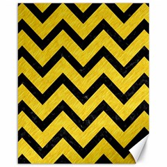 Chevron9 Black Marble & Yellow Colored Pencil Canvas 16  X 20
