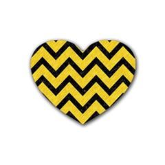 Chevron9 Black Marble & Yellow Colored Pencil Rubber Coaster (heart)