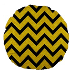 Chevron9 Black Marble & Yellow Colored Pencil Large 18  Premium Flano Round Cushions by trendistuff