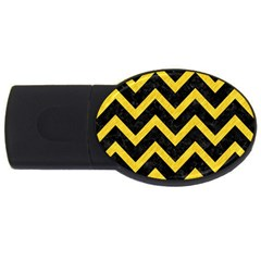Chevron9 Black Marble & Yellow Colored Pencil (r) Usb Flash Drive Oval (4 Gb) by trendistuff