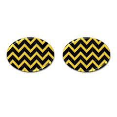 Chevron9 Black Marble & Yellow Colored Pencil (r) Cufflinks (oval) by trendistuff