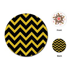 Chevron9 Black Marble & Yellow Colored Pencil (r) Playing Cards (round)  by trendistuff