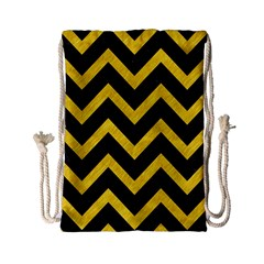 Chevron9 Black Marble & Yellow Colored Pencil (r) Drawstring Bag (small) by trendistuff