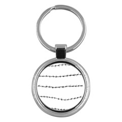 Barbed Wire Black Key Chains (round)  by Mariart