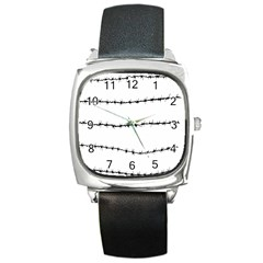 Barbed Wire Black Square Metal Watch by Mariart
