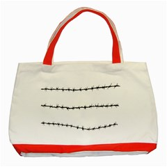 Barbed Wire Black Classic Tote Bag (red) by Mariart