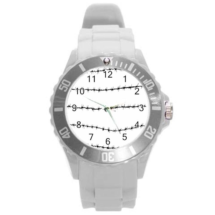 Barbed Wire Black Round Plastic Sport Watch (L)