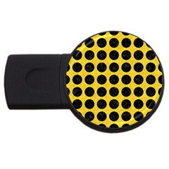 Circles1 Black Marble & Yellow Colored Pencil Usb Flash Drive Round (4 Gb) by trendistuff