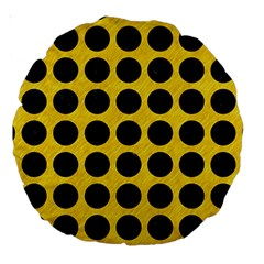 Circles1 Black Marble & Yellow Colored Pencil Large 18  Premium Round Cushions by trendistuff
