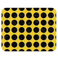 Circles1 Black Marble & Yellow Colored Pencil Double Sided Flano Blanket (medium)  by trendistuff