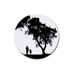 Black Father Daughter Natural Hill Rubber Round Coaster (4 Pack)  by Mariart