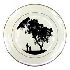 Black Father Daughter Natural Hill Porcelain Plates by Mariart