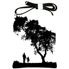 Black Father Daughter Natural Hill Shoulder Sling Bags by Mariart