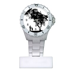 Black Father Daughter Natural Hill Plastic Nurses Watch by Mariart