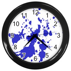 Blue Plaint Splatter Wall Clocks (black) by Mariart