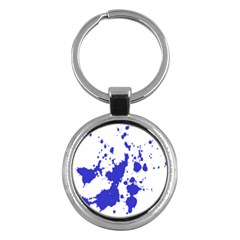 Blue Plaint Splatter Key Chains (round)  by Mariart