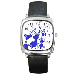 Blue Plaint Splatter Square Metal Watch by Mariart