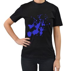 Blue Plaint Splatter Women s T Shirt (black) by Mariart
