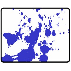 Blue Plaint Splatter Fleece Blanket (medium)  by Mariart