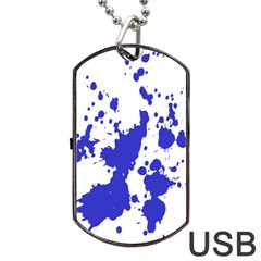 Blue Plaint Splatter Dog Tag Usb Flash (one Side) by Mariart