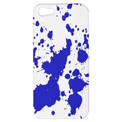 Blue Plaint Splatter Apple Iphone 5 Hardshell Case by Mariart