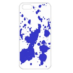 Blue Plaint Splatter Apple Iphone 5 Seamless Case (white) by Mariart