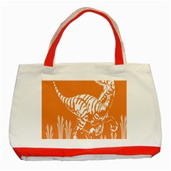 Animals Dinosaur Ancient Times Classic Tote Bag (red) by Mariart