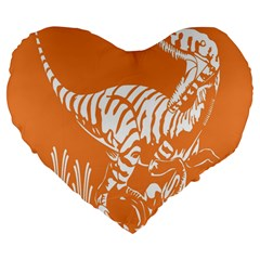 Animals Dinosaur Ancient Times Large 19  Premium Flano Heart Shape Cushions
