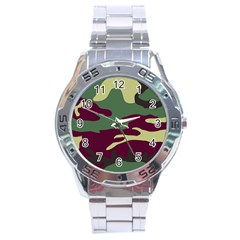 Camuflage Flag Green Purple Grey Stainless Steel Analogue Watch by Mariart