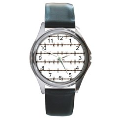 Barbed Wire Brown Round Metal Watch by Mariart